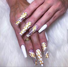 Hand Painted Gold decal and white Nail Designs at NAB Nail Bar Las Vegas Book Today Text or call 702-577-1680 www.nabnailbar.com
