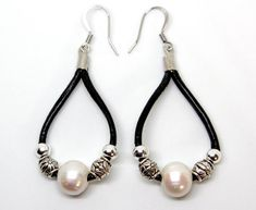 Boho meets Pearl earrings. Pearls and Bali tribal beaded leather. Lightweight drop earrings in your choice of leather color. Mix and match! Makes a great gift for her. Sea Ranch Jewelrys Pearlfection design earrings are a great gift for anniversary, birthday, graduation, Christmas or