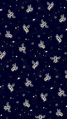 'Space Bees' by Macbendigo Iphone Background Wallpaper, Scenery Wallpaper, Pastel Wallpaper, Print Wallpaper, Cellphone Wallpaper, New Wallpaper, Aesthetic Iphone Wallpaper, Screen Wallpaper, Cartoon Wallpaper