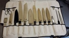Tosho - knife roll Canvas, leather, hardware $135