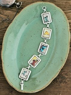 How to make a personalize-able resin bracelet. We love the idea of using family photos. (Great gift idea!)