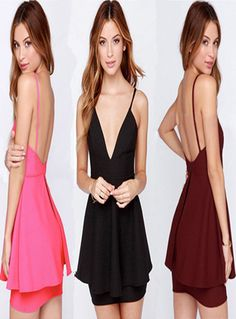 Sexy Backless Deep V-neck Solid Color Sling Dress #backless