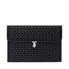 Nappa Leather Studded Skull Closure Envelope