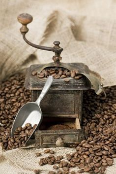 Antique Coffee Grinder Filled With Coffee Beans Royalty Free Stock ...