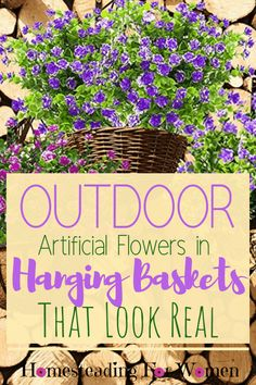 Container Gardening Ideas & Desgins Outdoor Artificial Flowers in Hanging Baskets That Look Real. Artificial Flowers Outdoors, Outdoor Flowers, Artificial Plants, Artificial Hanging Baskets, Hanging Flower Baskets, Indoor Gardening Supplies, Container Gardening, Flowers For You, Fake Flowers
