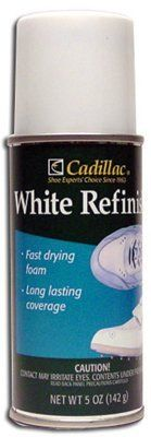 Cadillac White Refinish *3 Pack* by Cadillac. $18.00. 3 Cans per Pack.. Water Repellant and Non-toxic.. Fast Drying Foam!. Long Lasting Coverage.. A white foam refinish for all types of white leather and vinyl footwear. Dries to a smooth semi-gloss water pellant finish that will not come off and is non-toxic when dry. Not safe for suede.