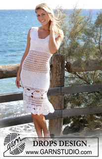 "DROPS dress or skirt crochet in a ""mussel"" pattern made with ""Alpaca"" and ""Cotton Viscose"". Sizes S - XXL ~ DROPS Design"
