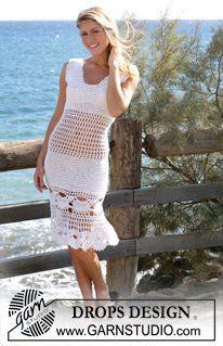 "DROPS Simpukkakuviollinen virkattu mekko langoista ""Alpaca"" ja ""Cotton Viscose"" ~ DROPS Design"