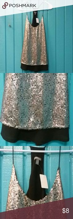 Charlotte Russe Black w/ Silver Sequins Top Size S Charlotte Russe Black w/ Silver Sequins Spagetti Strap Top Size S-Pre-owned Charlotte Russe Tops