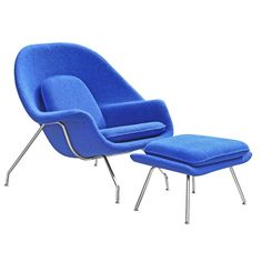 Eero Saarinen Womb Style Chair Chair and Ottoman, Blue