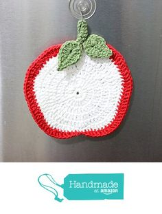 Apple Pot Holder, Crochet Red Apple Pot Holder, Red and White Apple with Leaves…
