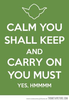keep calm ... The force is my ally and a powerful ally it is ...