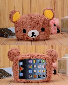 Cute 3D Cartoon Lovely Brown Bear Plush Toy Case Cover Skin for iPad Mini