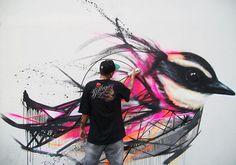 カラフルな鳥を描いちゃう!ブラジル人アーティストのストリートアートがステキ!
