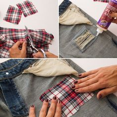 3 Genius Ways to Update Your Denim Using *Only* Glue - Brit + Co Diy Shorts, Diy Jeans, Diy Ripped Jeans, Patched Jeans, How To Patch Jeans, How To Make Shorts, How To Distress Jeans, Diy Distressed Jeans, Denim Crafts