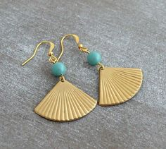 Gold Fan Earrings .. turquoise brass earrings by beadishdelight
