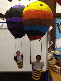 "Paper mache hot air ballons for Read Across America week...""Oh the Places You'll Go!"""
