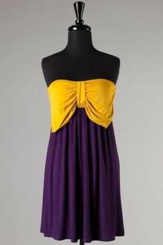 BLACK FRIDAY SALE - www.elleandk.com - Touchdown Tube Dress - Purple & Gold