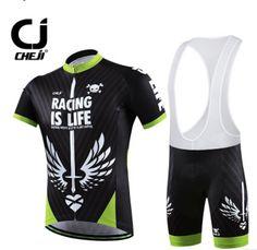 CHEJI Mens Wear Cycling Jersey Bib Shorts MTB BIke Bicycle Clothing Suit