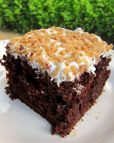 Chocolate toffee cake... Looks delicious! 1 devils food cake prepared by the directions... While cooking mix 1 can sweetened condensed milk and 1 jar caramel topping ... Poke holes in hot cake and pour milk mixture over cake. Cool completely. Top with 1/2 bag Heath bar bits, then spread top of cake with cool whip, followed by other 1/2 of Heath bar bits.