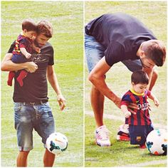 Gerard Pique playing with his son