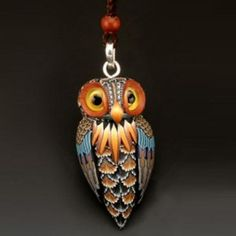Fimo Owl Necklace by polymer clay artist, Jon Anderson
