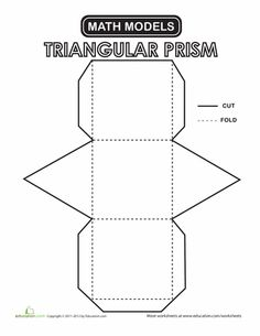 Second Grade Paper Projects Geometry Worksheets: Triangular Prism Fun Math, Math Activities, Maths, Shapes For Kids, 3d Shapes, Solid Geometry, Sacred Geometry, Math Projects, Molde