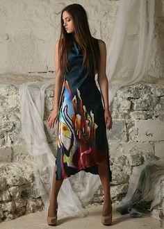 """Купить Дизайнерское платье """" Абстракция"""" с ручной росписью - орнамент, Батик, дизайнерская одежда"""