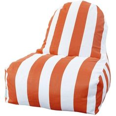 Majestic Home Goods Outdoor Indoor Vertical Stripe Kick-It Chair (£82) ❤ liked on Polyvore featuring home, outdoors, patio furniture, outdoor chairs, orange, outdoor furniture, outdoor beanbag chair, orange outdoor furniture, outdoor patio chairs and outdoor garden furniture