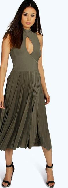 Sally Keyhole Pleated Slinky Midi Dress - Dresses  - Street Style, Fashion Looks And Outfit Ideas For Spring And Summer 2017