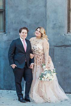 Nicolette Mason's stylish Brooklyn wedding: http://www.stylemepretty.com/2016/02/18/fashion-editors-fabulous-same-sex-brooklyn-wedding-with-a-custom-christian-siriano-gown/ | Photography: Clean Plate Pictures - http://www.cleanplatepictures.com/
