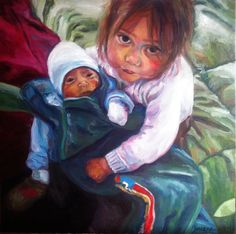 the girl and the baby_50x50 cm  oil on canvas