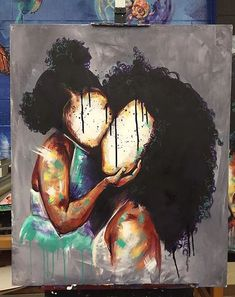 BFA Illustration from Atlanta College of Art Teacher at Pace Academy Atlanta, GA Focus: Portraits This could be my daughter and I Art Black Love, Black Girl Art, Art Girl, Black Art Painting, Black Artwork, Afro Painting, African American Art, African Art, Art Afro Au Naturel