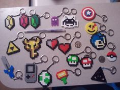 Retro video game inspired key chains made from fuse beads and key rings.