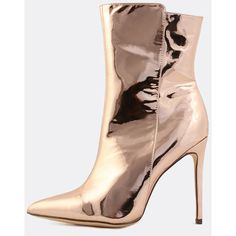 Metallic Pointed Toe Boots ROSE GOLD (3.120 RUB) ❤ liked on Polyvore featuring shoes, gold, pointy toe stilettos, stiletto shoes, stiletto high heel shoes, heels stilettos and high heel stilettos