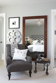 Headboard is Zippy Charcoal, pillow is schumacher New York New York, Anita drapery Ikea, mirror from qwac, wall color is Fog SR27