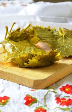 It's easy to cure grape leaves at home!  For breakfast you can roll scrambled eggs or wine soaked grapes and feta