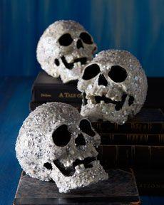 Encrusted Skulls...Glitter, decopauge, spray paint.