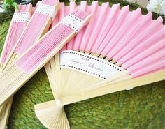 Pink Paper Fans Wedding Favors Party Favor - Paper and Bamboo Fans Wedding Favor - Bridal Shower Spring Beach by TeaAndBecky, $9.00