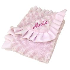 PersonalizeMyBabyBlanket.com -  Trend Lab Pink Rosette Velour Swirly Pink Matte Satin Ruffle Receiving Baby Blanket - Personalized Embroidery, $36.00 (http://personalizemybabyblanket.com/trend-lab-pink-rosette-velour-swirly-pink-matte-satin-ruffle-receiving-baby-blanket-personalized-embroidery/)