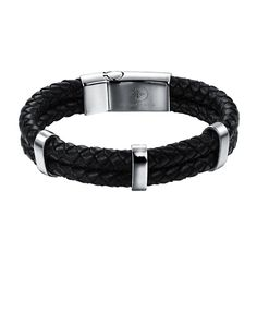 Complimentary Shipping and Luxury Gift Box Packaging - Premium Woven Black Nappa Leather - Silver plated smooth banded bars - Bracelet, 12mm wide - Silver plated magnetic steel clasp closure - Forzian