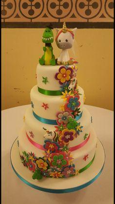 Rainbow Unicorn Dinosaur Cake Lily Amp Ryder S Bday Party