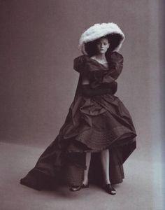 Yohji Yamamoto, Ensemble, photographed by Peter Lindbergh for Vogue, 1999