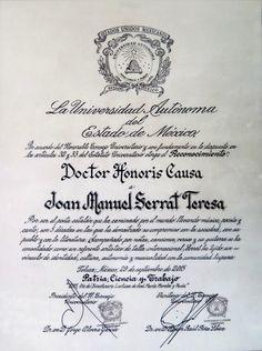 Joan Manuel Serrat recibe Doctor Honoris Causa por la Universidad Autónoma del Estado de México (UAEM)