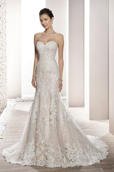 Demetrios Wedding Dress - Style 709 : Exquisite intricate lace embroidery embellishes this classic strapless sheath silhouette featuring a chapel train and stunning shear lace back adding a touch of drama. Wedding Dress Trumpet, Civil Wedding Dresses, White Wedding Dresses, Wedding Dress Styles, Perfect Wedding Dress, Bridal Dresses, Wedding Gowns, Bridesmaid Dresses, Strapless Lace Wedding Dress