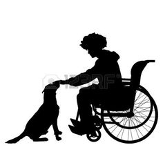 Vector siluetas hombre que est� en una silla de ruedas con un perro. photo
