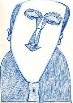 """""""Herr Jemand"""", undatierte Zeichnung.  Der wichtige Mannheimer Aussenseiterkünstler Ernst Kolb ist heute (noch) fast unbekannt. Das dürfte sich wohl ändern. Im Dezember 2012 hat die «Collection de l'Art Brut» in Lausanne 26 Zeichnungen erworben und die Fachzeitschrift RAWVISION stellt ihn in der neusten Ausgabe (Nr.79) einem breiteren Publikum vor. Gut 100 seiner Zeichnungen können bereits jetzt auf www.artbrut.li oder www.aussenseiterk... entdeckt werden"""
