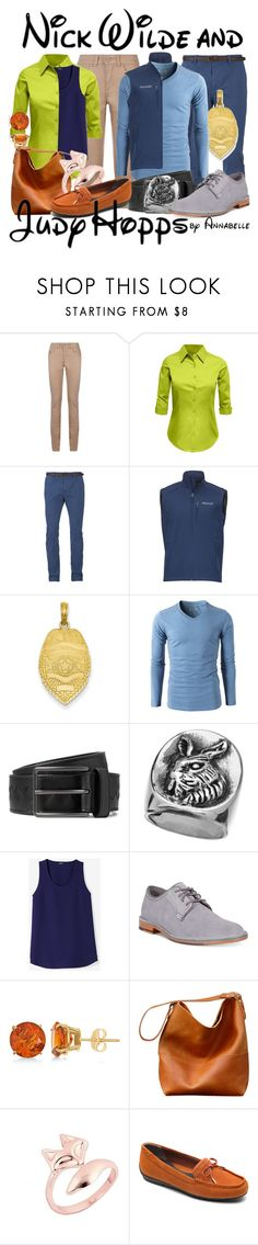 """Nick Wilde and Judy Hopps"" by annabelle-95 ❤ liked on Polyvore featuring Armani Jeans, LE3NO, Scotch & Soda, Marmot, Kevin Jewelers, Bottega Veneta, Femme Metale, Cole Haan, Allurez and Rockport"