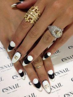 Chanel black n white Stiletto nails