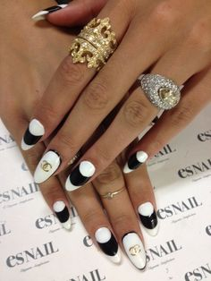 Chanel black n white Stiletto nails